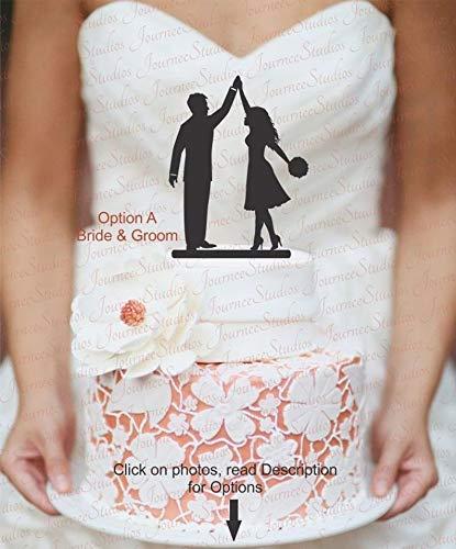 Hochzeitstorte Topper, Verlobungskuchenaufsatz, hohe Fünf, kurzes Kleid, keine Krawatte, normale Krawatte, Fliege [AJP7]
