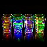 Liquid Activated Multicolor LED Shot Glasses ~ Fun Light Up Shots - 2 oz. - Set of 8