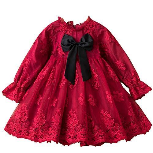 TTYAOVO Mädchen Blumen Kleid Spitze Langarm Prinzessin Party Größe 100 (2-3 Jahre) 1224 Rot