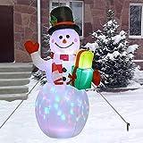 wenhe - Muñeco de nieve hinchable navideño de 1,5 m con luces LED giratorias...