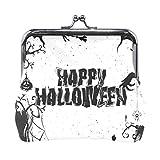 Monedero de piel con cierre para mujer, diseño de murciélago de Halloween