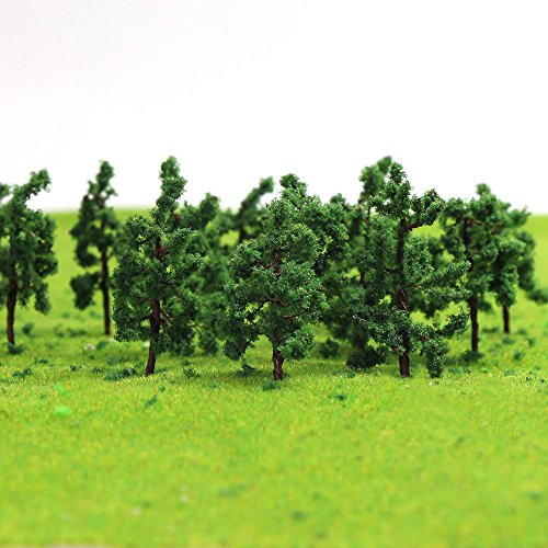 D3210 100PCS Model Trees 32mm /1.25 inch Z HO Scale Train Layout Iron Wire Trees,Diorama Supplies, Railroad Scenery, Fake Trees for Projects, Woodland Scenery for DIY Crafts or Building Model New