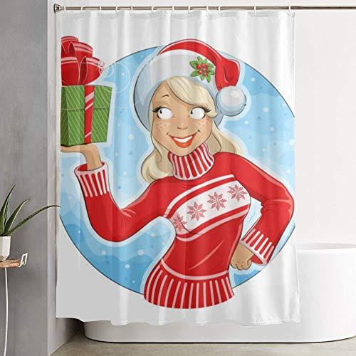 PbbrTK Personalisierter Duschvorhang,Mädchen im Weihnachtsmannkostüm,wasserabweisender Badvorhang für das Badezimmer 180 x 180 cm