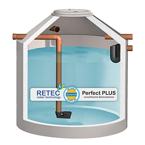 Zisterne 8000 Liter RETEC Betonzisterne Standard, mit ber. Zulauf und Siphon, frei Haus - Beton, Betonzisterne, Komplettset