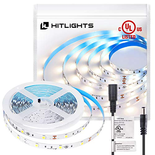 HitLights Premium 5050 UL-Listed Cool White LED Light Strip - 150 LEDs, 5000K, 192 Lumens & 1.7 Watts per Foot, 12V DC, Adhesive Backed - for Kitchens, Cabinets, Displays, Bedrooms&More