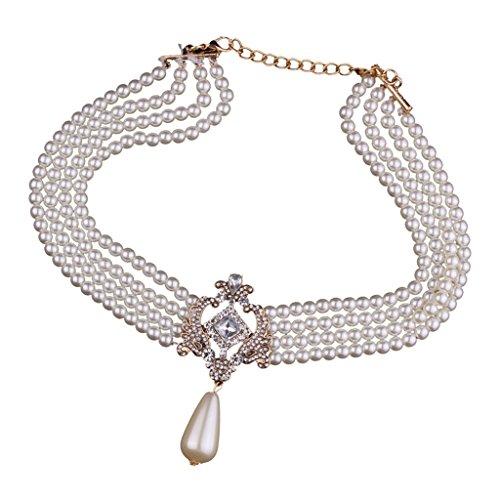 Collar De Gargantilla De Perlas con Múltiples Capas Collar De Gargantilla Joyas para Fiesta De Noche
