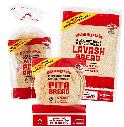 Joseph's Combo Value Pack, Flax, Oat Bran & Whole Wheat, Low Carb Pita Bread, Lavash Bread, and MINI Pita (1 Pack Each, 3 Packages Total)