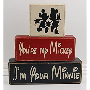 Your My Mickey I'm Your Minnie LOVE Mickey Mouse-Disney Primitive Wood Sign Shelf Stacking Blocks Home Decor Wedding Gift Shower Centerpiece
