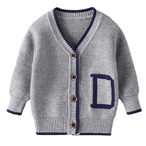 Flamedre Kleinkind Kinder Baby Mädchen Jungen Winterjacke Warmer Mantel Stricken Häkeln Outwear Pullover Strickjacke mit Kinderbriefdruck Grauer Cardigan-Pullover