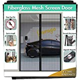 Upgraded Fiberglass Magnetic Screen Mesh for French Door [60'W 80'L] IKSTAR Instant Double Screen Door with Full Frame Magic Tape Curtain Mosquito Net Bug Out Fit Door Up to 58'x 79' Max