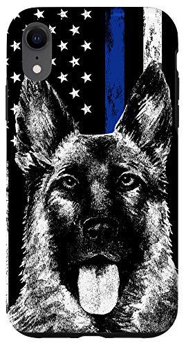 iPhone XR Thin Blue Line US Flag K-9 German Shepherd Police Dog Phone Case