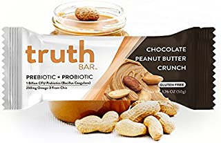 Truth Bar (Prebiotic + Probiotic) - Peanut Butter Crunch (12 Pack) - Low Sugar, Gluten Free, High Fiber, 10g of Protein, Non-GMO, Soy Free, Kosher, Nutrition Snack Bar with Premium Dark Chocolate