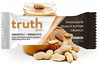 Truth Bar (Prebiotic + Probiotic) - Peanut Butter Crunch (12 Pack) - Low Sugar, Gluten Free, High Fiber, 10g of Protein, Non-GMO, Soy Free, Kosher, Nutrition Snack Bar with Premium Dark Chocolate