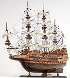 Casa Padrino Buque Insignia Sovereign of The Seas Marrón/Multicolor 88.9 x 29 x H. 94 cm - British Deco Barco Velero de Madera Hecho a Mano