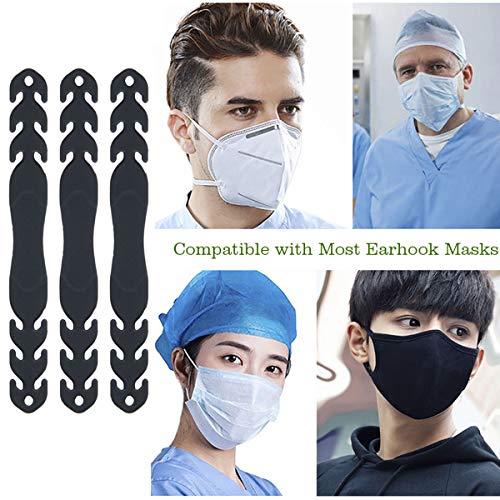 Funhoo 6 Stück Maske Halter Ohrenschutz Maskenhaken Maske Band Anti-Rutsch Haken Verstellbar für Erwachsene & Kinder (schwarz)