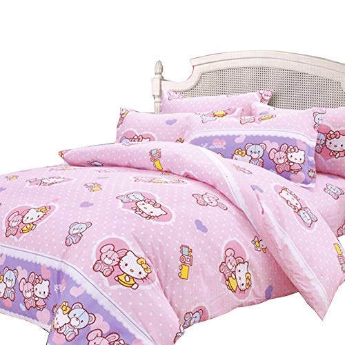 """HOLY HOME My Daughter's Birthday Gifts, Hello Kitty Floral Dress Princess, Full Size 78""""x90""""Pink Duvet Cover and 70""""x78""""+12"""" Fitted Sheet Plus 2 Pillow Cases, 4 Pieces"""