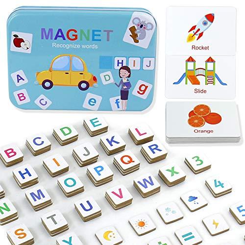 Lettere Magnetiche Numeri Lettere in Legno Magneti per Frigorifero Giochi da Tavola Montessori Giocattolo Educativo Rompicapo Regalo Puzzle Bambini 3 4 Anni(142 Pezzi)