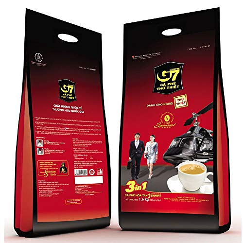 G7 3 In 1 Trung Nguyen Instant Coffee - 100 Bags(16gr/bag)  Roasted Ground Coffee Blend with Creamer and Sugar, Suitable for Most Coffee Brewing Methods