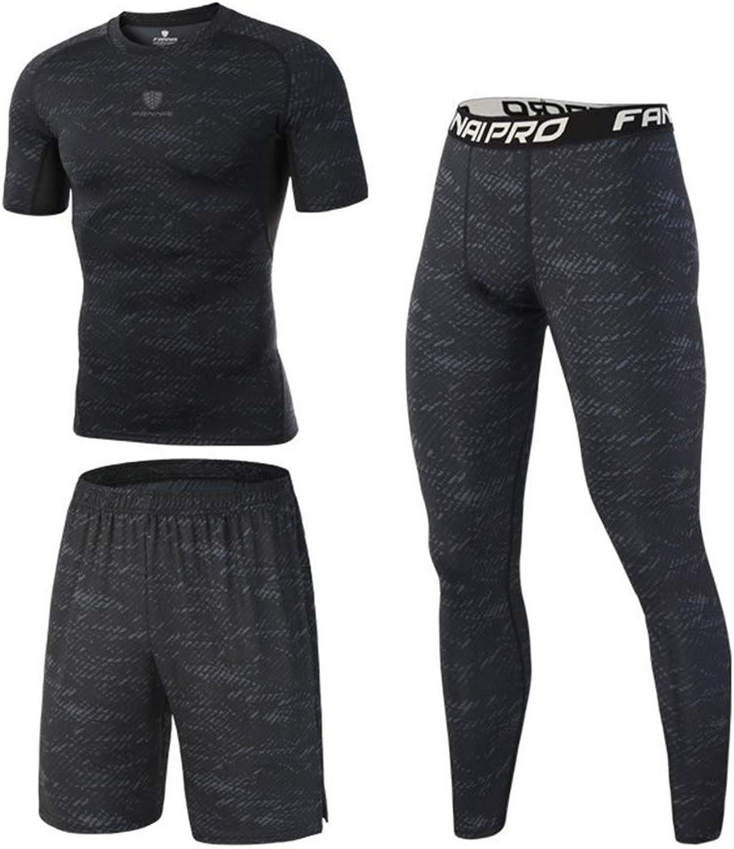 4bbd2b661f Men Fitness Suit 3 Pcs Mens Fitness Gym Clothing Set Set Set Sports Wear  Exercise Clothes Men Activewear Short Sleeve Shirt +Pants+Long Leggings for  Workout ...