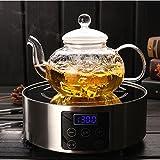 Tetera de vidrio IL con infusor, tetera con colador para té suelto, tetera de té segura en estufa, tetera de vidrio de borosilicato resistente al calor con infusor extraíble (1000 ml)