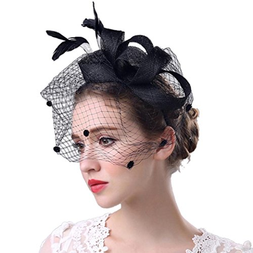 STRIR Sombrero Tocado Pelo Elegante Pluma Clip Hat Boda Coctel Malla Neto Velo Diadema para Mujer (Negro)