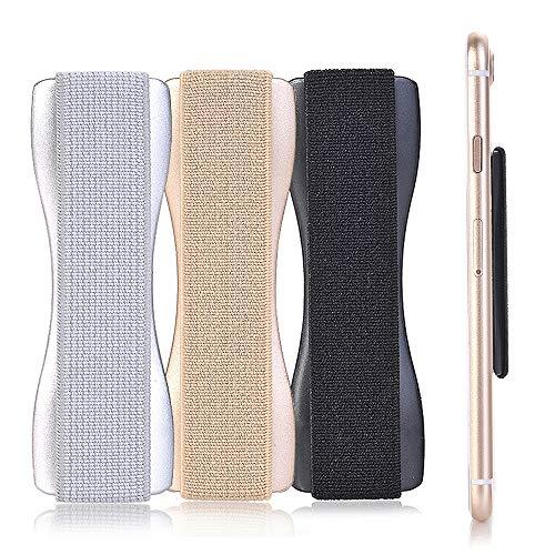 CLM-Tech Smartphone Finger-Halter 3er Set Einhandbedienung, 3 x Handy-Halterung, Griff selbstklebend, Silber Gold schwarz