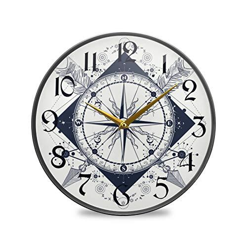 ART VVIES Reloj de Pared Redondo de 9,5 Pulgadas Que no Hace tictac silencioso Funciona con Pilas Oficina Cocina Dormitorio decoración del hogar-brújula patrón de Flechas