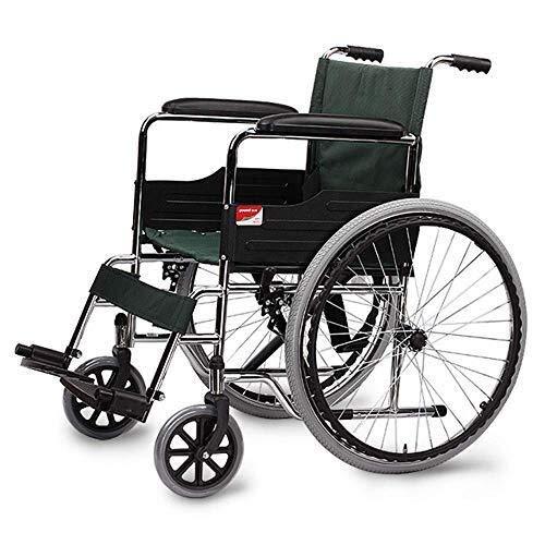 H-Silla De Ruedas HJH- plegable silla de ruedas - autopropulsadas Sillas de ruedas - Aluminio silla de ruedas, ligero y plegable marco, Silla de ruedas con Companion Drive, Portátil Tránsito Silla Via