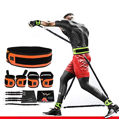 MYJZY Boxen Trainings-Widerstand-Bands, Ausdauer Speed Trainer, Ganzkörper-Kampf-Kampf-Widerstandstraining Set, Spannung elastisches Seil Fitnessgeräte,Orange