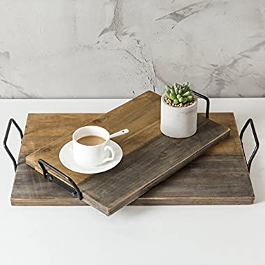 MyGift Aged Wood Plank-Style Serving Trays with Metal Handles, Set of 2