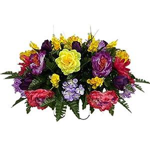 Spring Cemetery Flower Arrangement, Headstone Saddle, Grave, Tombstone Arrangement, Cemetery Flowers SS4190