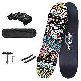WRISCG Skateboard Completo Pro para Principiantes Adolescentes Adultos, con T-Tool+ Kit de protección+ Mochila, 7 Capas...