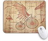 NOLYXICI Alfombrilla Raton Diseños de bocetos de Da Vinci para Bicicletas Retro Flying Machines Alfombrilla Gaming Alfombrilla para computadora con Base de Goma Antideslizante,240×200×3mm
