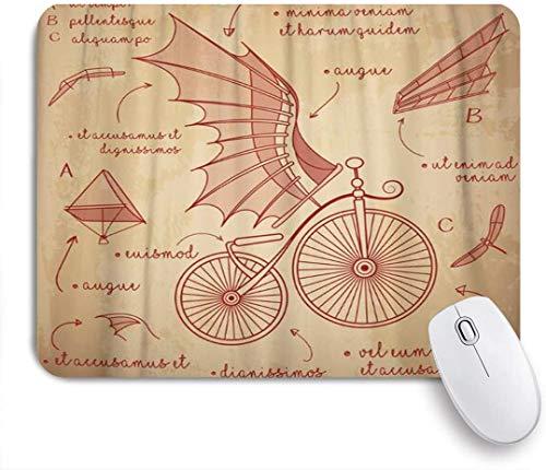SDBUYW-ZQ Alfombrilla de ratón de Oficina,Diseños de bocetos de Da Vinci para Bicicletas Retro Flying Machines,Alfombrilla Antideslizante para Juegos con Base de Goma