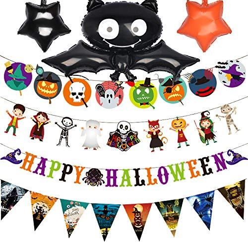 Decoración de Halloween Banners Guirnalda Globos con Murciélago Fantasma Calabaza Brujas Cráneos Bunting para Niños Fiesta de Halloween