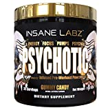 Insane Labz Psychotic Gold, High Stimulant Pre Workout Powder, Extreme Lasting Energy, Focus, Pumps and Endurance with Beta Alanine, DMAE Bitartrate, Citrulline, NO Booster, 35 Srvgs, Gummy Candy