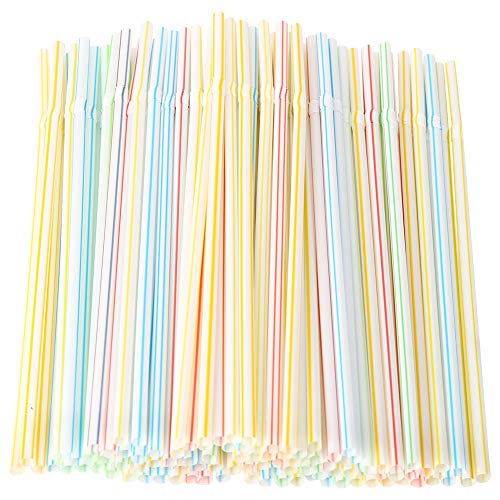 DrafTor 200 Stück flexible Trinkhalme mehrfarbig lange biegsame Einweg-Trinkpipette für Partys Bars Geburtstage Cafés und Restaurants