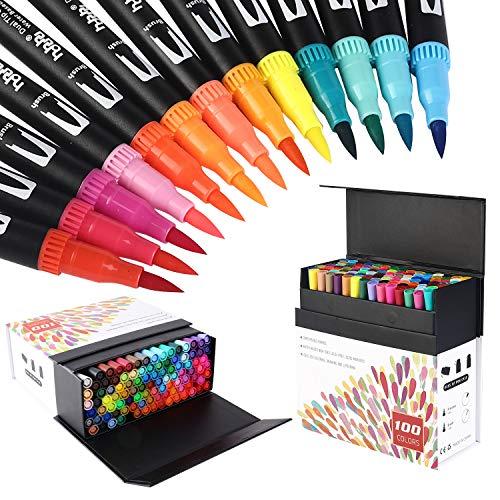HOHUHU HOH-100B 100 Farben Marker Set Pinselstift Set Fasermaler, Kalligraphie aquarellpinsel Marker Stift Set, handlettering stifte Doppelspitze Textmarker
