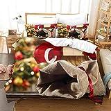 FOssIqU Ropa de Cama de Fibra de poliéster 200x200cm Sacos de Navidad Funda nórdica Ropa de Cama Funda de Almohada Dormitorio Familiar patrón de Moda habitación Infantil