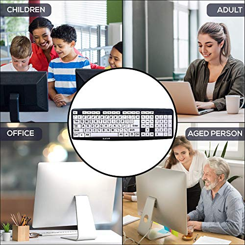 Nuklz N Large Print Computer Keyboard | Visually Impaired Keyboard | High Contrast Black and White Keys Makes Typing Easy | Perfect for Seniors and Those Just Learning to Type