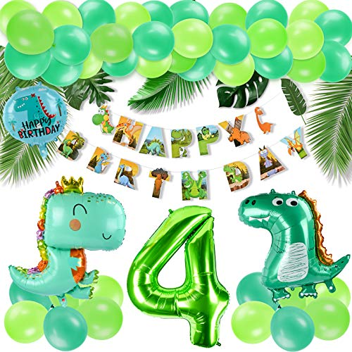 KATELUO Decoracion Cumpleaños Dinosaurios,Selva Fiesta de Cumpleaños Decoracion, Selva Fiesta de cumpleaños decoracion Niño,Decoración de globos de cumpleaños para niños. (4)