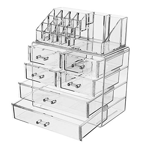 Boîte de Rangement Cosmétique Acrylique Transparente, Boîte de Rangement de Type Tiroir a Grande Capacité pour Bijoux Cosmétiques, Organisateur de Plateau Cosmétique Empilable de Bureau - Transparen