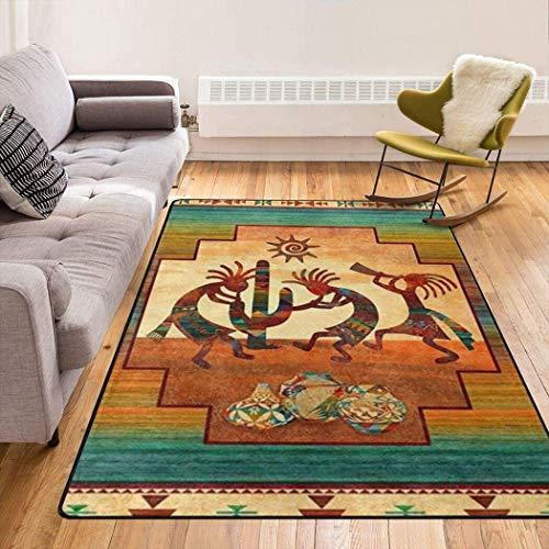 Southwest Native American Kokopelli Cactus Sunset Area Rug Fluffy Anti-Skid Rug Floor for Living Room Outdoor Modern Area Rugs Comfy Cute Floor 2x3 3x5 4x6 5x8 Area Rug
