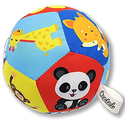 CENTEL Baby Sensory Ball Rainbow Rattle Toy Ball Small Multicolored Animal Plush Ball with Sound Bell for Newborn Infant Toddler Educational Toys for 0 to 36 Months