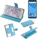 K-S-Trade Flipcover Für Vernee M6 Schutz Hülle Schutzhülle Flip Cover Handy Hülle Smartphone Handyhülle Blau