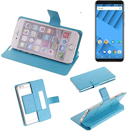 K-S-Trade® Flipcover Für Vernee M6 Schutz Hülle Schutzhülle Flip Cover Handy Case Smartphone Handyhülle Blau