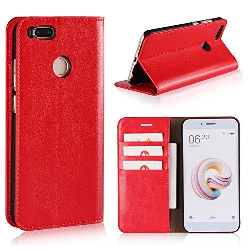 Copmob Xiaomi A1 Funda,Avanzado Flip Estilo Billetera Funda de Cuero,[Soporte Plegable] [Ranura para Tarjeta/Billetera ],Resistente al Rayado Funda de Cuero para Xiaomi Mi A1 - Rojo