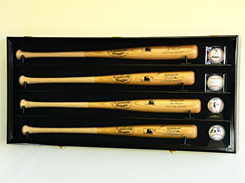 4 Baseball Bat & Ball Cabinet Display Case Wall Mount Bat Rack Cube Display (Black Wood Finish)