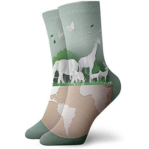 Giornata mondiale della fauna selvatica con l'animale in calzini della foresta Calzini collo unisex Calzini vestito