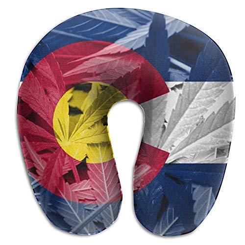 Almohada de viaje para mujeres Hombres: almohada de avión de bandera del estado de Colorado de marihuana fácil de lavar con cubierta extraíble, soporte para la barbilla de la cabeza acogedora